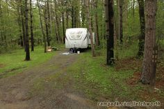 Campsite Photo of Site 504 at Letchworth State Park, New York - Looking at Site From Road Sign Visible