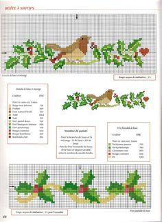 Holly and Robin Xmas Cross Stitch, Cross Stitch Borders, Cross Stitch Animals, Cross Stitch Flowers, Cross Stitch Charts, Cross Stitch Designs, Cross Stitching, Cross Stitch Embroidery, Cross Stitch Patterns