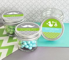 Check out this item in my Etsy shop https://www.etsy.com/listing/471959937/baby-shower-mini-mason-jar-baby-shower