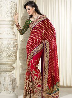 Red #Designer #Saree Online  Check out this page now :-http://www.ethnicwholesaler.com/sarees-saris