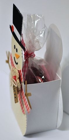 Treat box. you could use greeting card cut-outs for the front and back