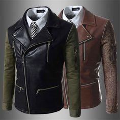 Casual Men's Slim Fit Zipper PU Leather Jackets Vest Coats Outwear Dress Shirts #BrandNEW #FashionJacket