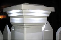 This outdoor solar powered cap light installs easily and features automatic dusk-to-dawn operation. Fits over a PVC post. Solar powered post cap with 4 high-output white LEDs. Style # 23717 at Lamps Plus. Deck Railing Design, Deck Railings, Vinyl Deck Railing, Vinyl Fencing, Balcony Railing, Fence Design, Solar Panel Cost, Solar Panels For Home, Fence Lighting