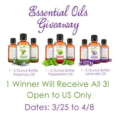 Essential Oils Giveaway- Ends 04/08