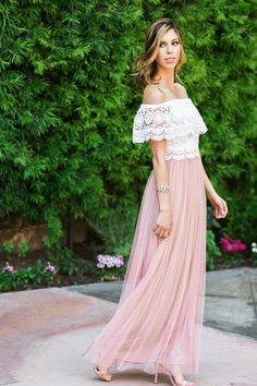 Aubrey Tulle Rose Maxi Skirt – Morning Lavender-  I love this skirt!!  Pair it with a  plain v-neck tee, dress it up by adding heels, or if you want a little flair add a floppy hat.