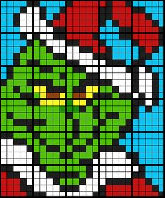 Colouring by Linear Equations - The Grinch, 1 and 2 Step Equations Pearler Bead Patterns, Perler Patterns, Loom Patterns, Beading Patterns, Cross Stitch Patterns, Grinch, Pixel Art Templates, Minecraft Templates, Minecraft Ideas