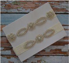 Wedding Garter, SALE, Wedding Garter Set, Rhinestone Bridal Garter Set, Elegant Wedding Garter Belt, Unique Bridal Garter Set by SpecialTouchBridal on Etsy