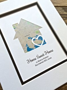Home Sweet Home Personalized Map Art First Anniversary or