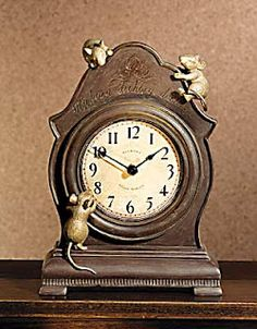 Hickory, dickory, dock,  The mouse ran up the clock.  The clock struck one,  And down he run,  Hickory, dickory, dock.