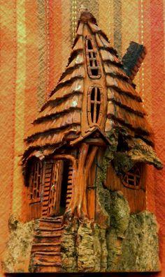 Fancy Door and Windows house cottonwood bark house carved by N. Minske