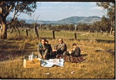 """family picnic in full colour, 1950s. We used to go on a lot of picnics """"We're going for a Sunday drive"""""""