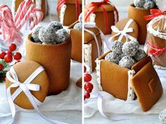 Festive spread of Gingerbread Boxes and Mason Jars tied with ribbons and filled with chocolate truffle balls. Edible Christmas Gifts, Christmas Desserts, Doll House Plans, Recipetin Eats, Ginger And Honey, How To Make Box, Golden Syrup, Chocolate Truffles, Packaging