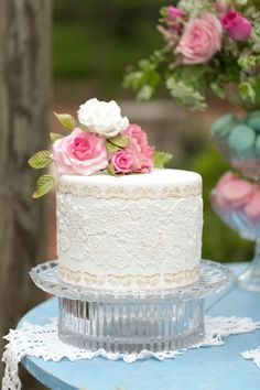 Beautiful Cake Pictures: White Lace Embossed Little Cake - Birthday Cake, Cakes & Lace, Wedding Cakes - Gorgeous Cakes, Pretty Cakes, Amazing Cakes, Unique Wedding Cakes, Wedding Cakes With Flowers, Blush Rosa, Gateaux Cake, Little Cakes, Cake Pictures
