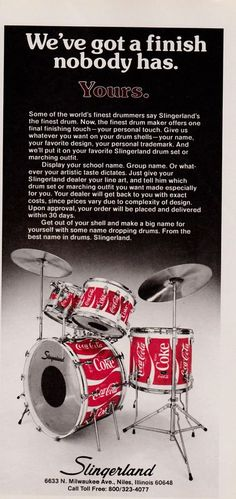 Slingerland Coca-Cola wrap kit - advertisement from 1977