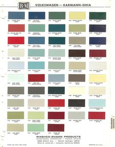 1962 1963 1964 1965 1966 VOLKSWAGEN KARMANN-GHIA BEETLE PAINT CHIPS (R-M)