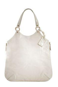YSL Oversized White Ivory Patent Tribute Handbag