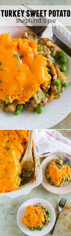 Ground turkey is combined with vegetables and an easy gravy, then topped with cheesy mashed sweet potatoes in this Turkey Sweet Potato Shepherd's Pie. A great change up from the original!