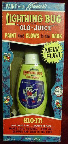 "cryptofwrestling:  "" Lightning Bug Glow Juice - Paint That Glows In The Dark! (1967)  """