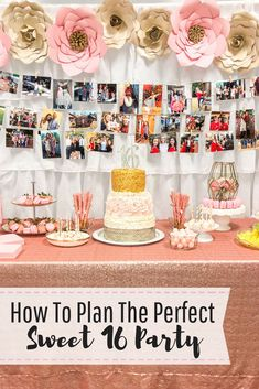 How to plan the perfect Sweet 16 party. Pink and gold Sweet 16 party ideas. Dessert table ideas. Photo booth backdrop for Sweet 16 party. Pink and gold Sweet 16. Sweet 16 Party Decorations, 16th Birthday Decorations, Sweet 16 Themes, Sweet 16 Food Ideas, Table Decorations, Pink And Gold Decorations, Sweet 16 Party Favors, Candy Centerpieces, Quince Decorations