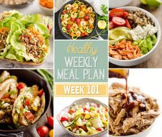 A delicious mix of healthy entrees, snacks and sides make up this Healthy Weekly Meal Plan #101 for an easy week of nutritious meals your family will love!