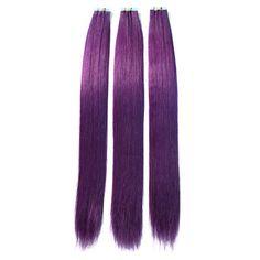 20-26Inch PU Tape 100% Purple Straight Human Hair Extension