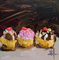 Three Chocolates in Gold Foil Papers original by prattcreekart
