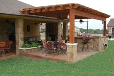Attractive Chairs With Black Table And Lawn Feat Unique Outdoor Kitchen Pergola Plus Ceiling Fan. Living into Perfect Sensation of Outdoor Kitchen Pergola Wooden Pergola, Outdoor Pergola, Backyard Pergola, Pergola Plans, Pergola Kits, Backyard Landscaping, Pergola Ideas, Cheap Pergola, Pergola Lighting