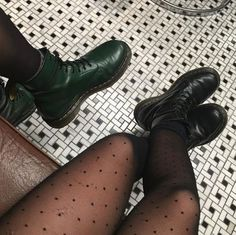 Double Docs; Green and black 1460s. Shared by mao_niikura on Instagram.
