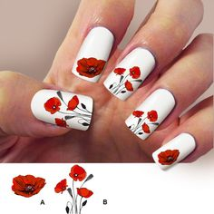 Poppy, red flowers, nail art, nail decals, Nail Art design, Water Slide nail Decals,#POP001 by Marziaforever on Etsy https://www.etsy.com/listing/479330214/poppy-red-flowers-nail-art-nail-decals