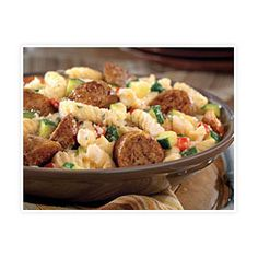Cut sausage diagonally into 1-inch pieces and cook sausage in a large skillet over medium heat, turning to cook and brown evenly, about 10 to 15 minutes or until internal temperature reaches 160 degrees F. Set aside. Cool slightly and cut diagonally into 1-inch pieces.