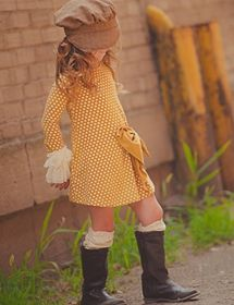 Persnickety Clothing Lucille Dress in Gold Dot