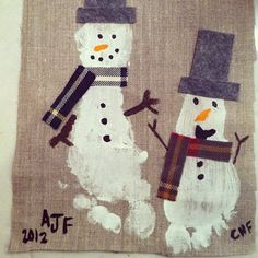 Snowman Feet on burlap to make a Wall hanging or table runner for christmas decor. or gift for grandma.