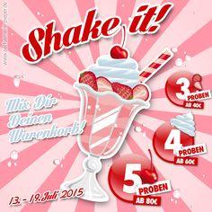 Unsere Shake it-Mix it Aktion im Sommer für Euch. Sichert Euch Eure gratis Geschenke := #geschenke #gratis #parfümeriepieper #shake #it #mix #it #milchshake #kische #erdbeere #sahne