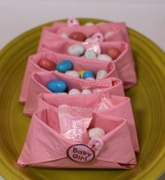 Pink Girl Diaper Baby Shower Favor Idea - (also great for a little girl's baby doll birthday party - quick, easy, inexpensive)