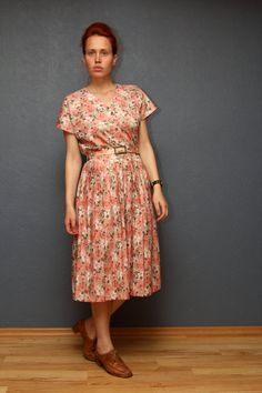 Floral Vintage Pleated Dress/ Pink and Gray Floral by SoulTrail, $30.00