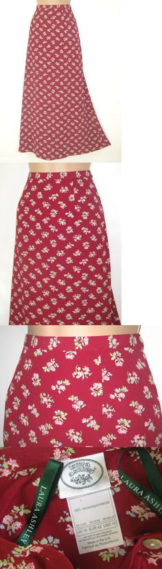 a4c7799017 Skirts 175791: Laura Ashley Vintage Sweet Cranberry Cottage Posy Long  Viscose Skirt, 14 16 -> BUY IT NOW ONLY: $69 on #eBay #skirts #laura #ashley  #vintage ...