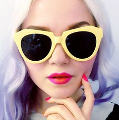Pastel perfect! Lilac hair and yellow sunglasses with hot pink lips and nails.