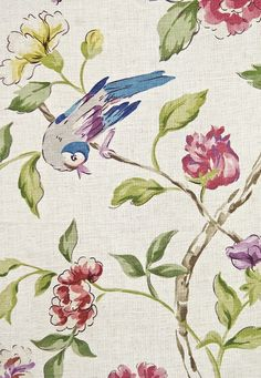 Sissinghurst Floral Linen Fabric Light oat linen mix fabric with bird and floral print in greens and reds.