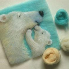 В мире рукоделия столько удивительного... Участница проекта Abbigli.ru… Felted Wool Crafts, Felt Crafts, Needle Felted Animals, Felt Animals, Wooly Bully, Bear Felt, Felt Pictures, Needle Felting Tutorials, Textile Fiber Art