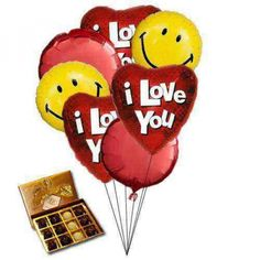 Sweet Love Balloons and chocolates for valentine day.