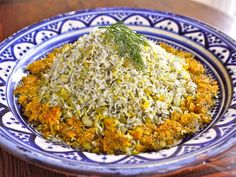 Persian Dill and Lima Bean Rice - Baghali Polo Recipe Side Dishes with basmati rice, lima beans, fava beans, salt, saffron threads, vegetable oil, dill, spices