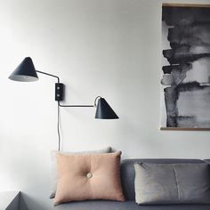 Applique murale double en fer noir mat et laiton Club House Doctor