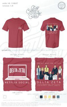 Delta Zeta | Netflix Theme Social | Netflix Mixer | South by Sea | Greek Tee Shirts | Greek Tank Tops | Custom Apparel Design | Custom Greek Apparel | Sorority Tee Shirts | Sorority Tanks | Sorority Shirt Designs