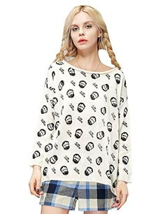 Autumn Head Print Long Sleeve Knitted Loose Sweater