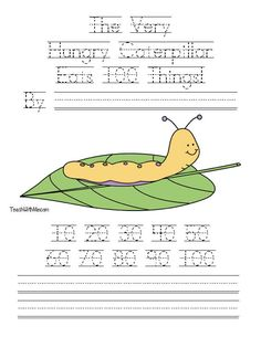 Classroom Freebies: The Very Hungry Caterpillar Eats 100 Things easy reader