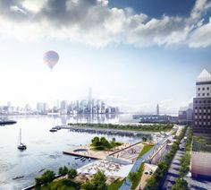 """OMA's proposed Hoboken Waterfront for the """"Rebuild by Design"""" competition, which focused on resilience, sustainability and livability. Image Courtesy of OMA Water Architecture, Sustainable Architecture, Sustainable Design, Architecture Design, Chinese Architecture, Landscape And Urbanism, Urban Landscape, Landscape Design, New York High Line"""
