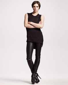 Ann Demeulemeester leather leggings, fab. ng