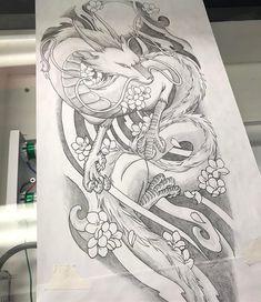 Tattoo Dragon Haku Spirited Away 63 Ideas is part of Blended Family tattoos Ideas - Blended Family tattoos Ideas Dragon Tattoo Art, Dragons Tattoo, Dragon Sleeve Tattoos, Dragon Tattoo Designs, Dragon Art, Irezumi Tattoos, Geisha Tattoos, Maori Tattoos, Body Art Tattoos