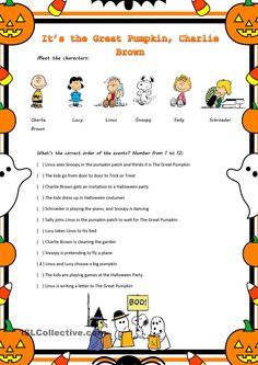 """""""It's The Great Pumpkin, Charlie Brown"""" Movie Worksheet worksheet - Free ESL printable worksheets made by teachers Charlie Brown Thanksgiving, Charlie Brown Halloween, Great Pumpkin Charlie Brown, Snoopy Halloween, It's The Great Pumpkin, Holidays Halloween, Halloween Kids, Halloween Party, Halloween Games"""