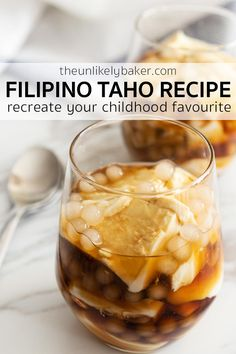 Make taho at home and recreate a childhood favourite! All you need are soft tofu, sago pearls and brown sugar syrup (arnibal). Enjoy for breakfast, snack (merienda) or dessert. #easyrecipe #filipinocuisine #filipinotaho Easy Drink Recipes, Dessert Recipes, Snacks Recipes, Dessert Ideas, Cocktail Recipes, Filipino Recipes, Asian Recipes, Filipino Food, Easy Snacks